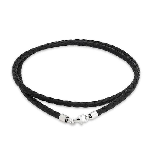 Black Genuine Leather Braided Necklace Pendant Cord Silver Plated