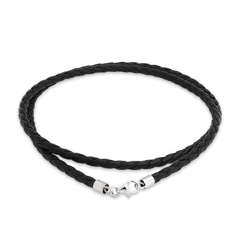 Bling Jewelry 3mm Black Braided Leather Cord Silver Plated Necklace