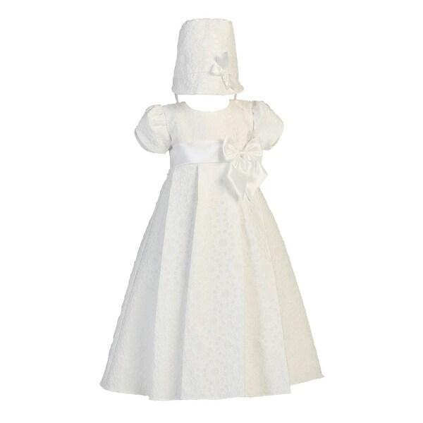 Baby Girls White Floral Jacquard Christening Easter Hat Dress Set 0-18M - 6-12 months