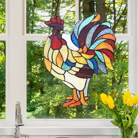 """River of Goods 15.25""""H Rusty the Rooster Stained Glass Window Panel"""