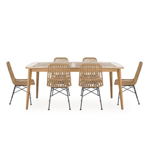 Sawtelle Outdoor 6 Seater Wicker Dining Set by Christopher Knight Home