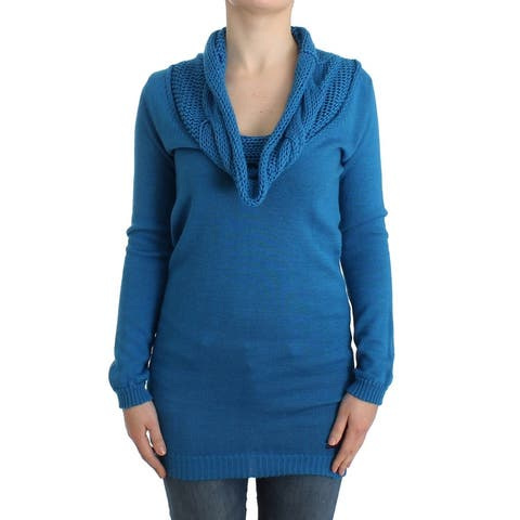 Costume National Blue knitted scoopneck Women's sweater