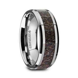 FAWN Beveled Tungsten Carbide Polished Men's Wedding Band with Dark Antler Inlay - 8mm