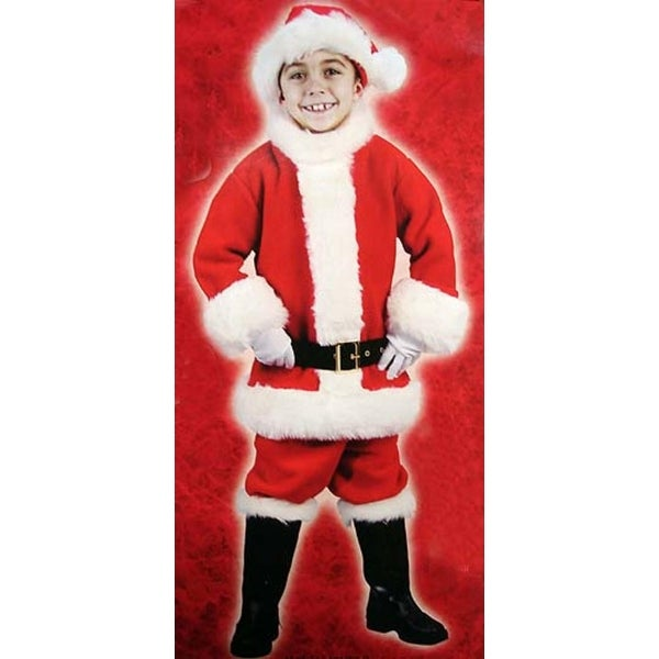 6-Piece Children's Red Plush Christmas Santa Suit Costume - Size Small (4-6)