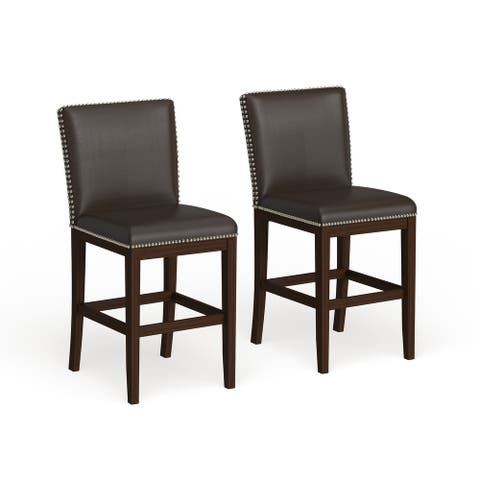 Strick & Bolton Hugo 24-inch Faux Leather Counter Stool (Set of 2)