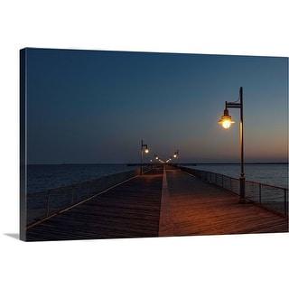 """""""Boardwalk pier at night"""" Canvas Wall Art"""