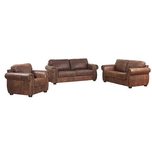Ashanti Mercury Buffalo Genuine Aniline Leather Sofa Set Mid Brown