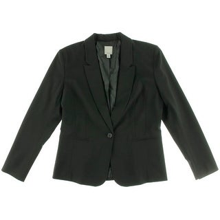 Halogen Womens Notch Lapel Seamed One-Button Blazer