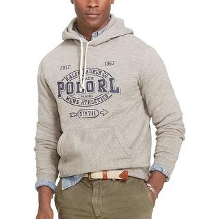 Polo Ralph Lauren Hooded Printed Fleece Sweatshirt Dark Vintage Grey X-Small