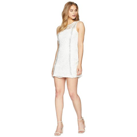 bebe White Sleeveless Sheath Dress