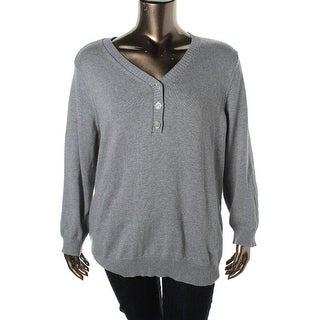 Karen Scott Womens Plus 100% Cotton Knit Henley Sweater - 2X