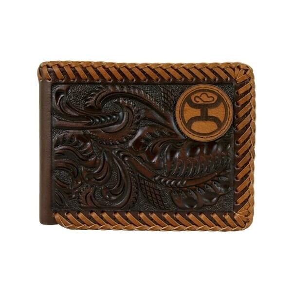 """HOOey Western Wallet Mens Whip Bifold Signature Dark Brown - 4"""" x 3/4"""" x 3 1/2"""""""