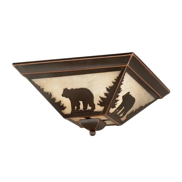 "Vaxcel Lighting CC55714 Bozeman 3-Light Flush Mount Indoor Ceiling Fixture with Cream Bear Portrait Glass Shade - 14"" Wide"
