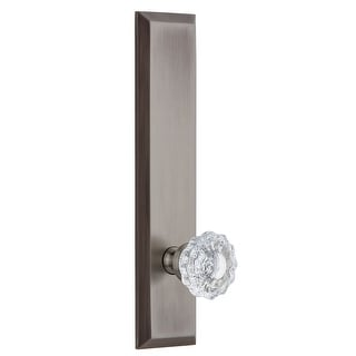 Grandeur FAVVER_TP_PSG_234  Fifth Avenue Solid Brass Tall Plate Passage Door Knob Set with Versailles Crystal Knob and 2-3/4""