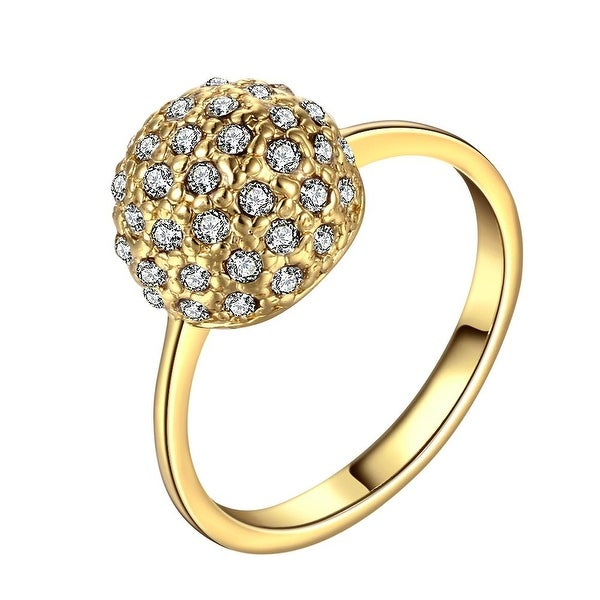 Gold Plated Pav'e Crystal Covered with Jewels Ring