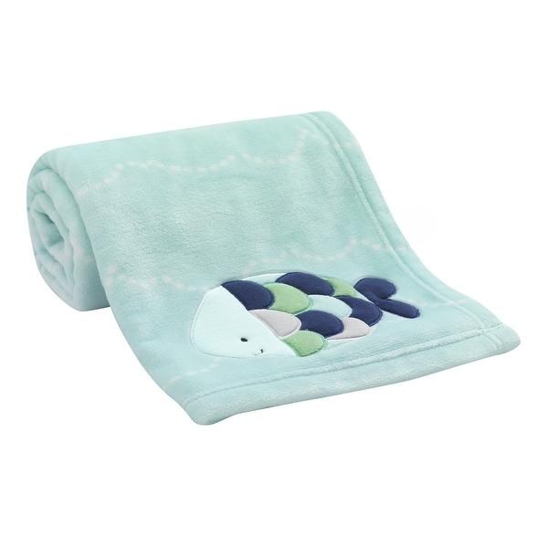 Lambs & Ivy Oceania Blue Nautical Fish Luxury Coral Fleece Baby Blanket