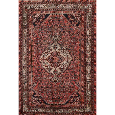 "Tribal Geometric Hamedan Persian Area Rug Handmade Wool Carpet - 4'10"" x 6'7"""