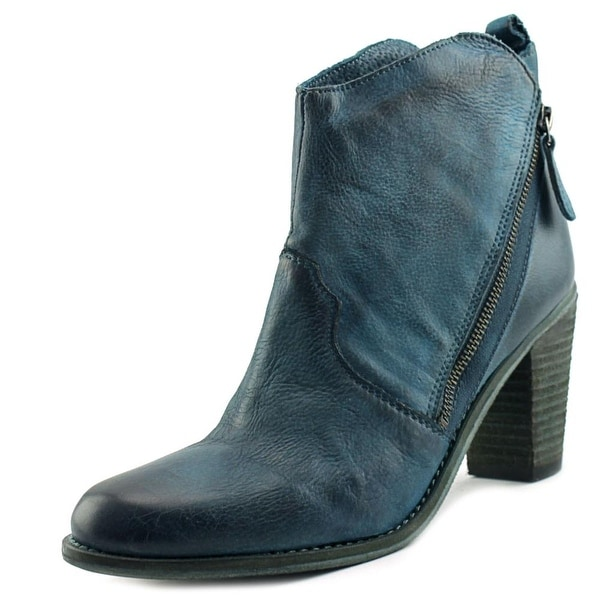 Charles David Ivi Women Round Toe Leather Blue Bootie