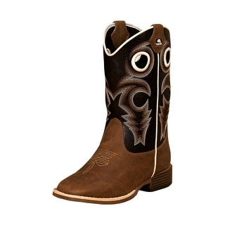 Double Barrel Western Boots Boys Kids Trace Piping Zip Brown 4449202