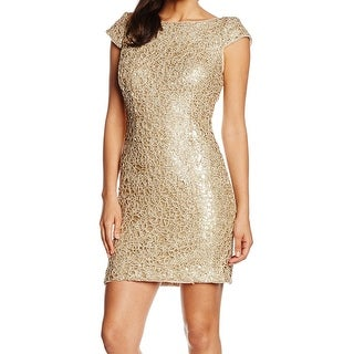 Adrianna Papell NEW Gold Women's Size 8 Sequin Crochet Sheath Dress
