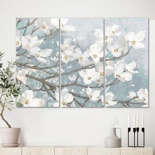 Porch & Den 'Blue on Grey Blossoms ' Canvas Artwork
