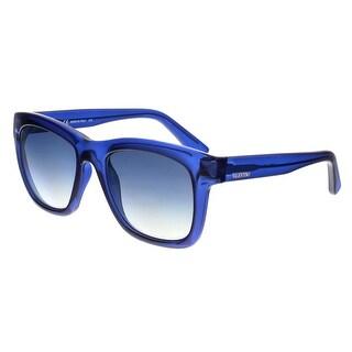 Valentino V725S 419 Transparent Blue Square Sunglasses - transparent blue