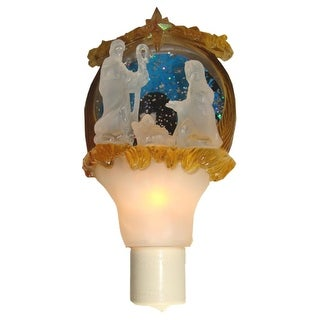 """7"""" Shimmering Gold and White Holy Family Glass Disk Christmas Night Light"""