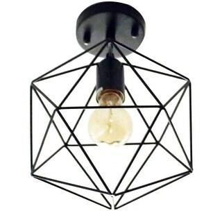 Single vintage wire cage flush mount black ceiling light