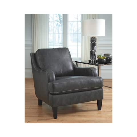 Tirolo Casual Black Faux Leather Accent Chair