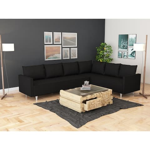 Metal Frame Upholstered Foam Seats Corner Sectional Sofa