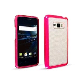 Technocel Hybrigel w/ Wave Pattern Case for LG LS696 Optimus Elite - Pink/Clear