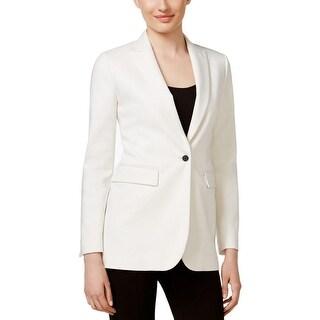 Anne Klein Womens One-Button Blazer Peak Lapel Long Sleeves