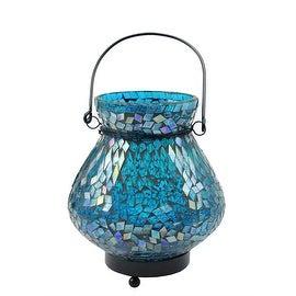 "6.5"" Decorative Blue Mosaic Lota Glass Summer Tea Light Candle Holder Lantern"