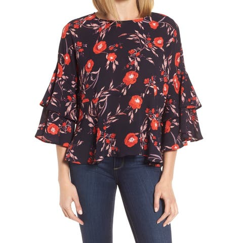Gibson Black Womens Size Large L Bell-Sleeve Floral-Print Blouse