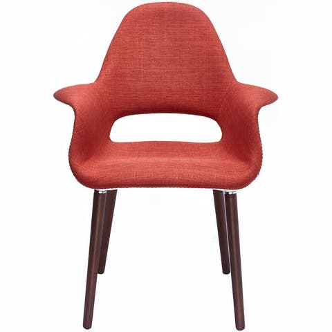 2xhome Designer Retro Upholstered Dining Arm Chair with Back Dark Walnut Wood Legs Patchwork Fabric Padded Seat Cushion