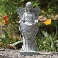 "15"" Solar Irish Garden Angel Statue - Green"