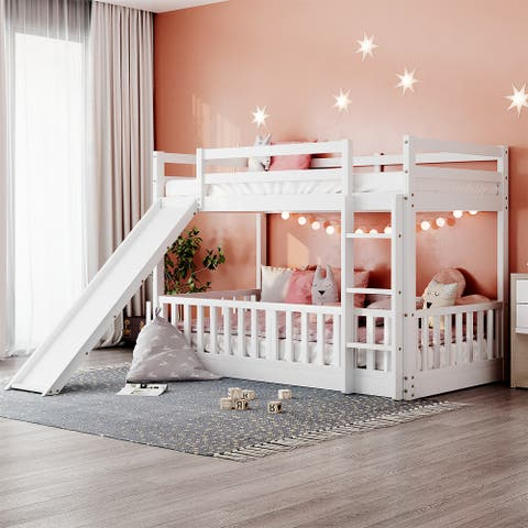 Merax Twin Over Twin Bunk Bed with Slide and Ladder
