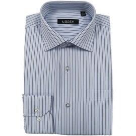 Men's Regular/Fashion Fit Long-Sleeve Multi Pattern Botton-Front Dress Shirt (Blue Stripe)