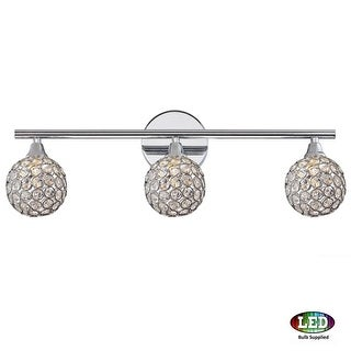 "Platinum PCSR8603LED Shimmer 3 Light 23"" Wide Bathroom Vanity Light with Crystal Globe Shades"
