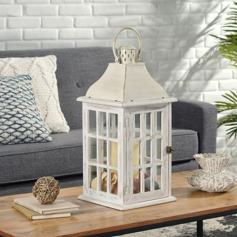 Hooven Indoor Mango Wood Handcrafted Decorative Lantern by Christopher Knight Home