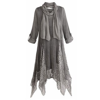 Women's Tunic Top - Three Piece Lux Lace Gray Blouse, Scarf And Vest Set