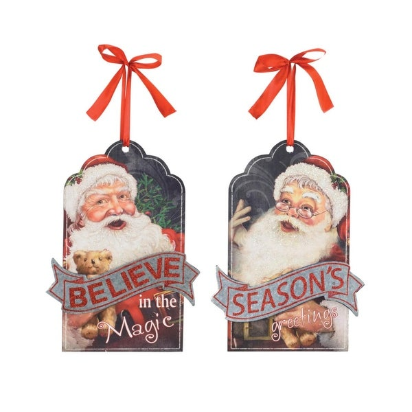 """Pack of 8 Festive Santa Clause Gift Tag Shaped Christmas Ornaments 11.75"""" - silver"""