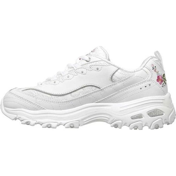 skechers white sneakers with flowers