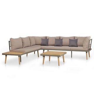 "vidaXL 4 Piece Garden Lounge Set with Cushions Solid Acacia Wood Brown - 90.6"" x 78.7"" x 25.6"""