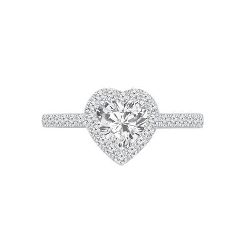 Auriya 14k Gold 1 1/4ctw Heart Shape Halo Diamond Engagement Ring