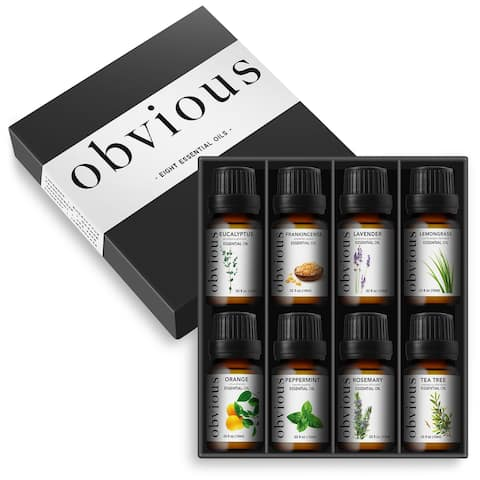 8-Pack 10ml Essential Oils for Aromatherapy by Obvious
