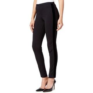 Michael Kors NEW Black Womens Size 12 Velvet-Trim Skinny Dress Pants
