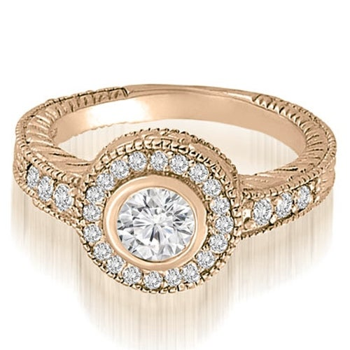 0.75 cttw. 14K Rose Gold Antique Milgrain halo Engagement Ring