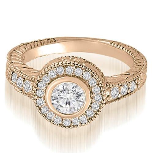 1.00 cttw. 14K Rose Gold Antique Milgrain halo Engagement Ring