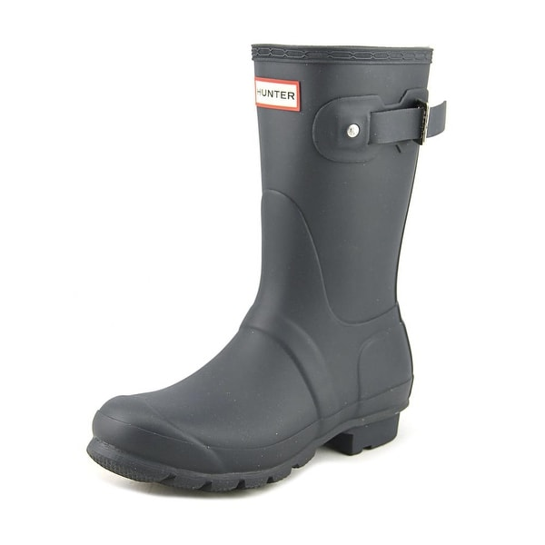Hunter Original Short Women Round Toe Synthetic Blue Rain Boot